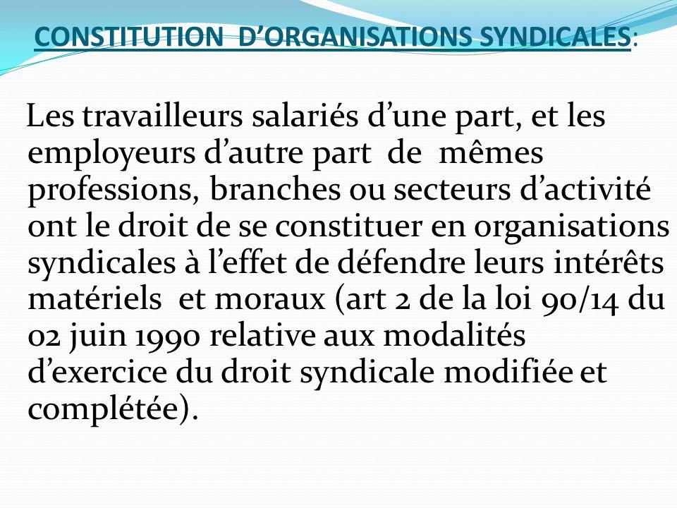 CONSTITUTION D'ORGANISATIONS SYNDICALES: Les travailleurs salariés d'une part, et les employeurs d'autre part de mêmes professions, branches ou secteu