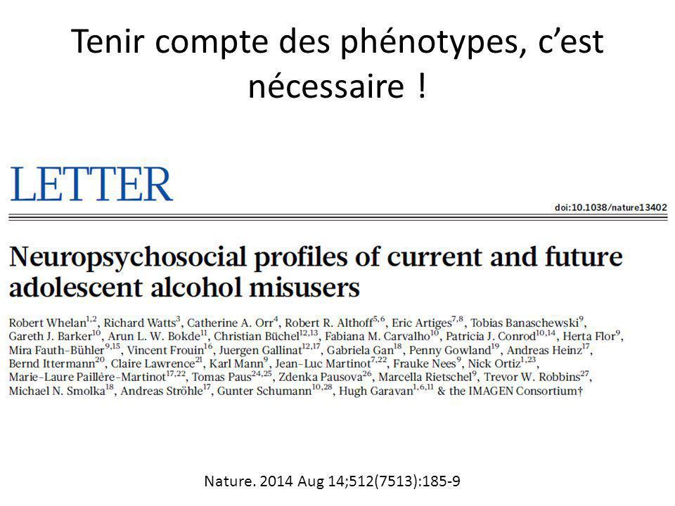 Tenir compte des phénotypes, c'est nécessaire ! Nature. 2014 Aug 14;512(7513):185-9