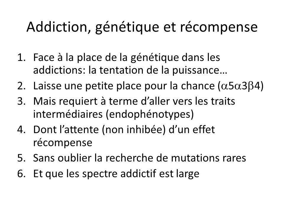 Addiction, génétique et récompense 1.Face à la place de la génétique dans les addictions: la tentation de la puissance… 2.Laisse une petite place pour la chance (  5  3  4) 3.Mais requiert à terme d'aller vers les traits intermédiaires (endophénotypes) 4.Dont l'attente (non inhibée) d'un effet récompense 5.Sans oublier la recherche de mutations rares 6.Et que les spectre addictif est large