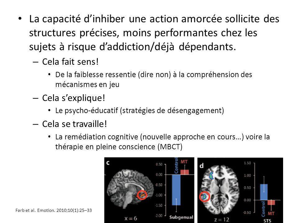 La capacité d'inhiber une action amorcée sollicite des structures précises, moins performantes chez les sujets à risque d'addiction/déjà dépendants.