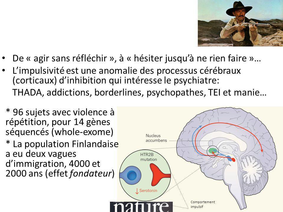 De « agir sans réfléchir », à « hésiter jusqu'à ne rien faire »… L'impulsivité est une anomalie des processus cérébraux (corticaux) d'inhibition qui intéresse le psychiatre: THADA, addictions, borderlines, psychopathes, TEI et manie… * 96 sujets avec violence à répétition, pour 14 gènes séquencés (whole-exome) * La population Finlandaise a eu deux vagues d'immigration, 4000 et 2000 ans (effet fondateur) Comportement impulsif