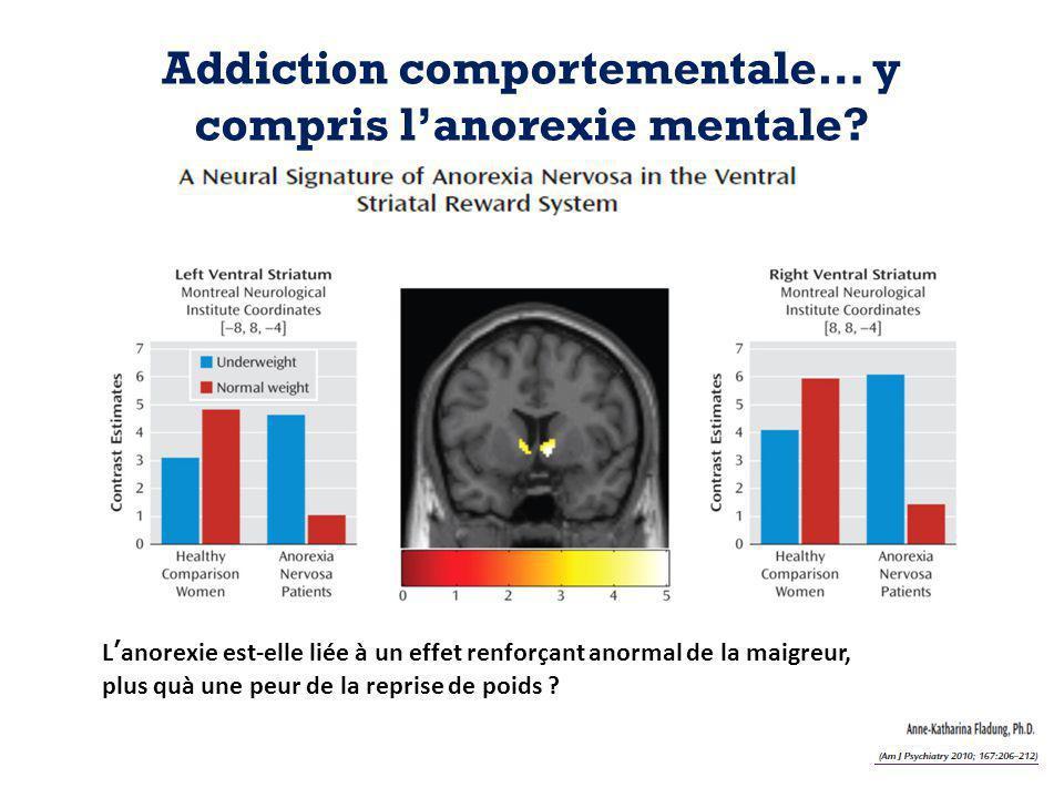 Addiction comportementale… y compris l'anorexie mentale? L'anorexie est-elle liée à un effet renforçant anormal de la maigreur, plus quà une peur de l