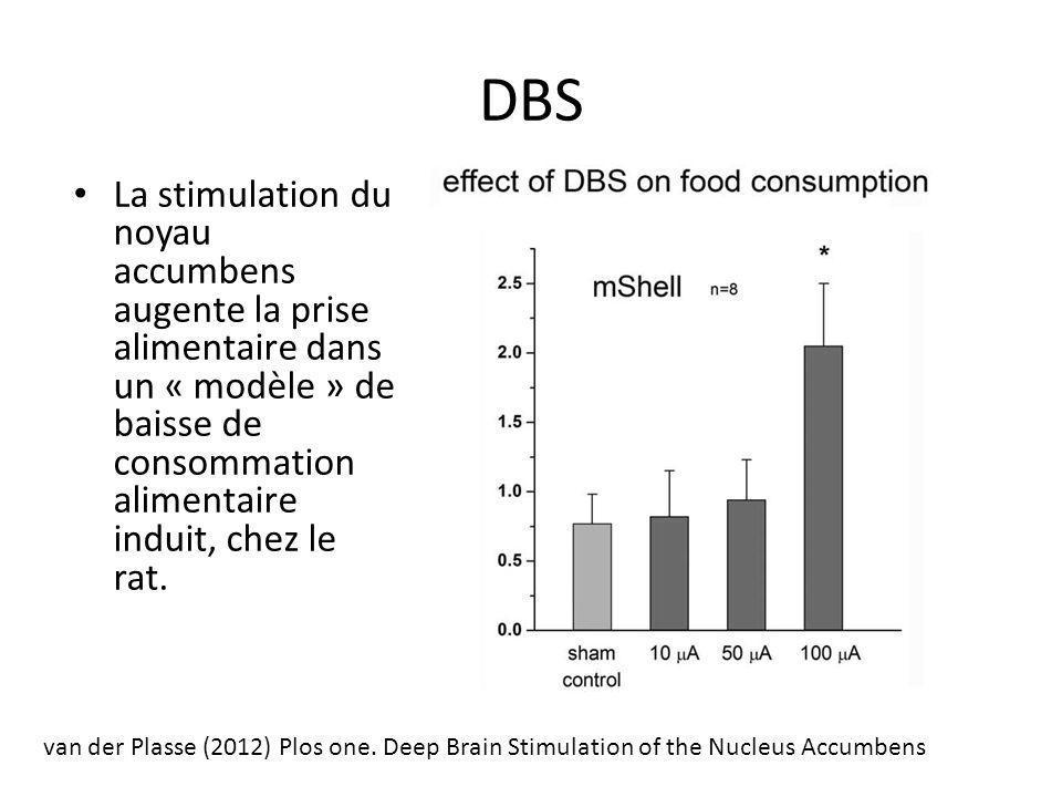 DBS La stimulation du noyau accumbens augente la prise alimentaire dans un « modèle » de baisse de consommation alimentaire induit, chez le rat.