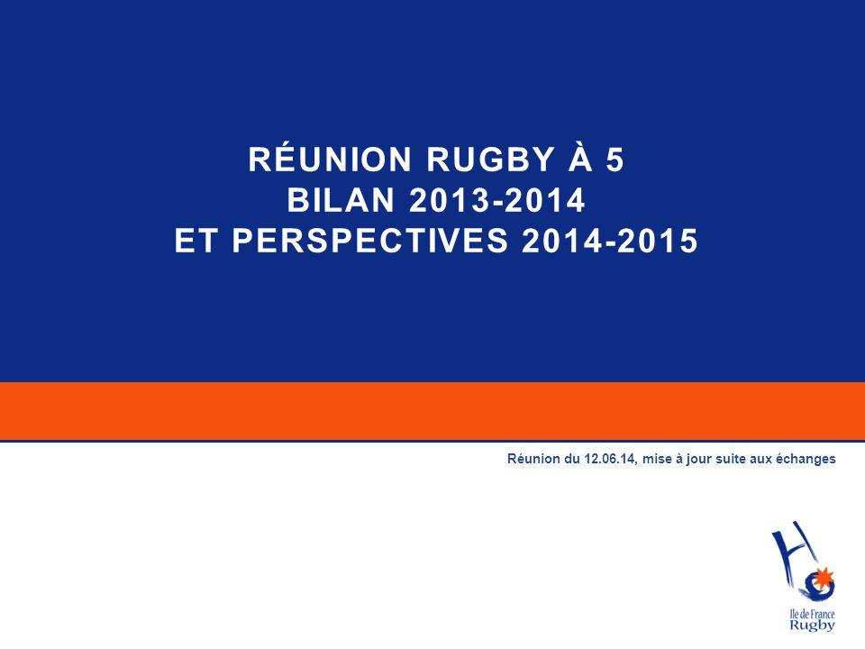 RÉUNION RUGBY À 5 BILAN 2013-2014 ET PERSPECTIVES 2014-2015 Réunion du 12.06.14, mise à jour suite aux échanges
