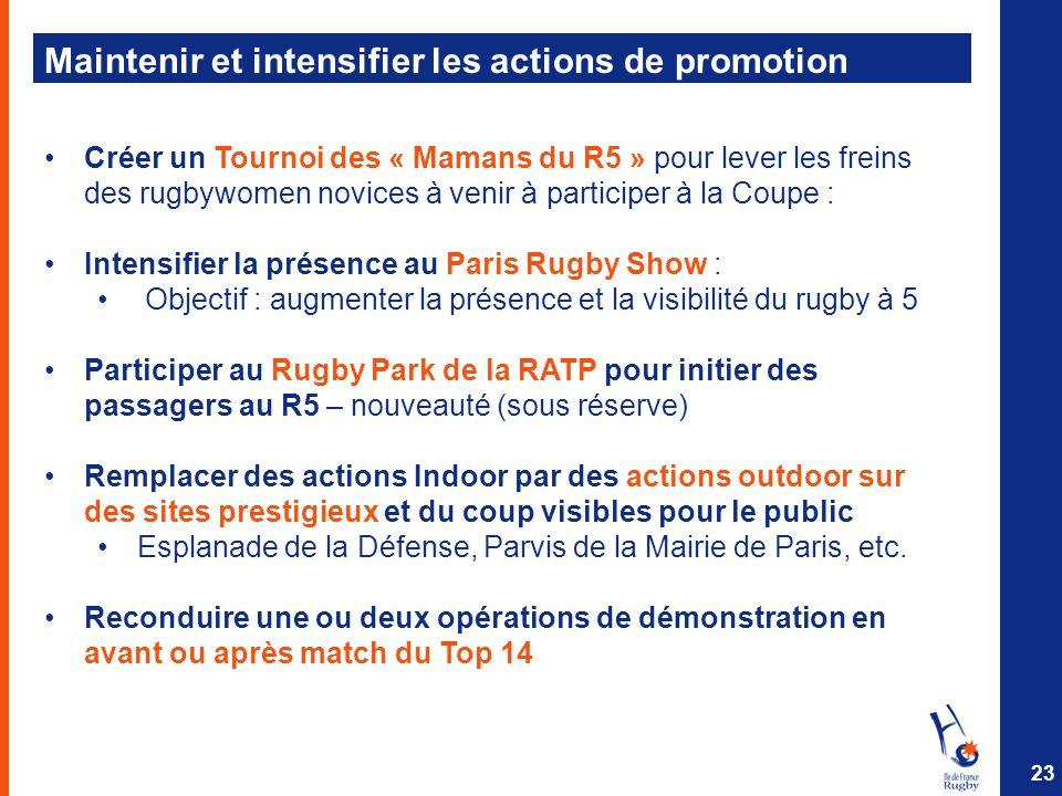 Maintenir et intensifier les actions de promotion Créer un Tournoi des « Mamans du R5 » pour lever les freins des rugbywomen novices à venir à partici