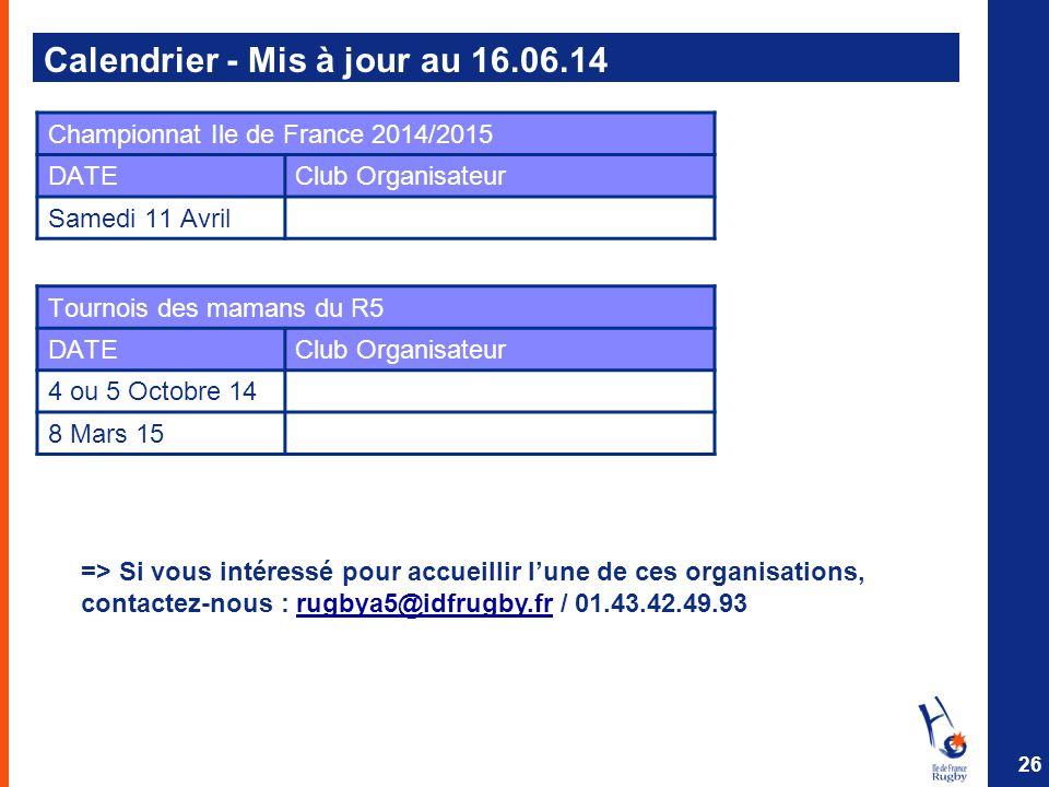 Calendrier - Mis à jour au 16.06.14 26 Championnat Ile de France 2014/2015 DATEClub Organisateur Samedi 11 Avril Tournois des mamans du R5 DATEClub Or