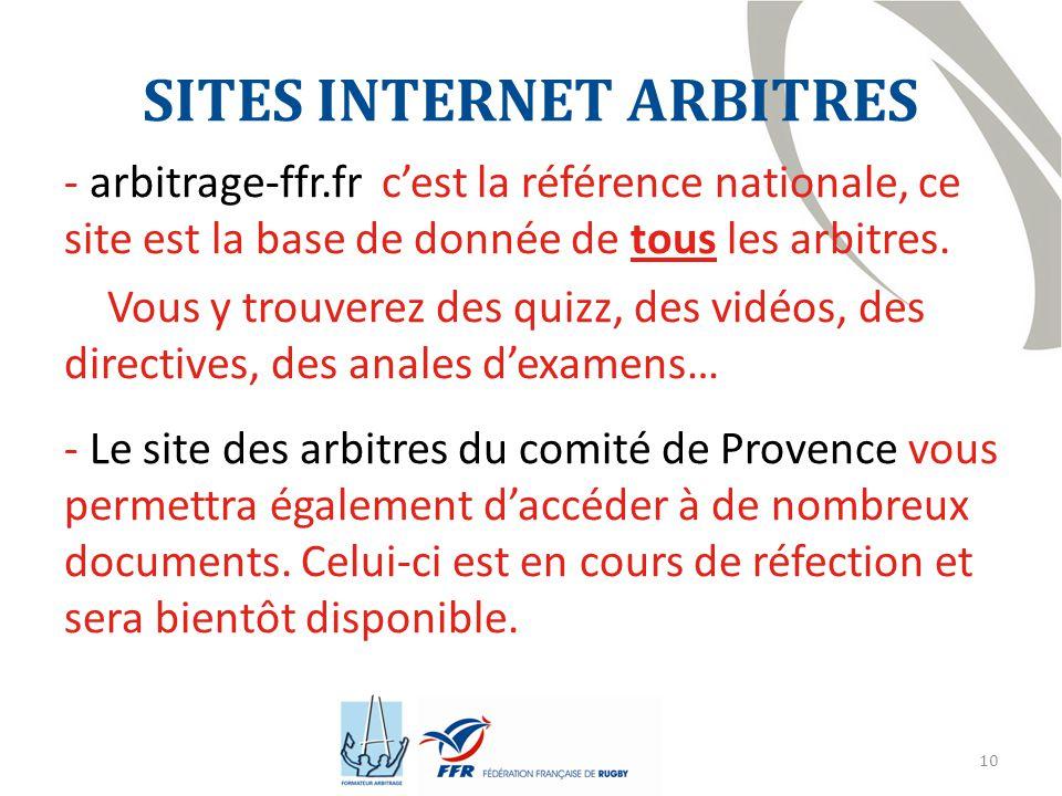 10 SITES INTERNET ARBITRES - arbitrage-ffr.fr c'est la référence nationale, ce site est la base de donnée de tous les arbitres.