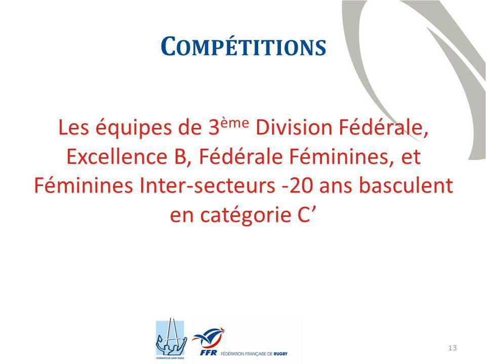 13 C OMPÉTITIONS Les équipes de 3 ème Division Fédérale, Excellence B, Fédérale Féminines, et Féminines Inter-secteurs -20 ans basculent en catégorie C'