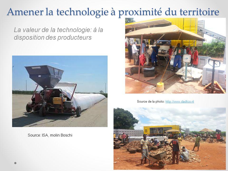 Amener la technologie à proximité du territoire 8 Source de la photo: http://www.dadtco.nlhttp://www.dadtco.nl La valeur de la technologie: à la disposition des producteurs Source: ISA, molin Boschi