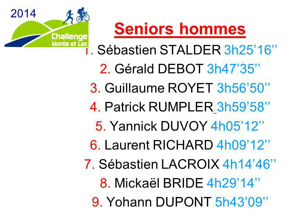 Seniors hommes 1. Sébastien STALDER 3h25'16'' 2. Gérald DEBOT 3h47'35'' 3. Guillaume ROYET 3h56'50'' 4. Patrick RUMPLER 3h59'58'' 5. Yannick DUVOY 4h0