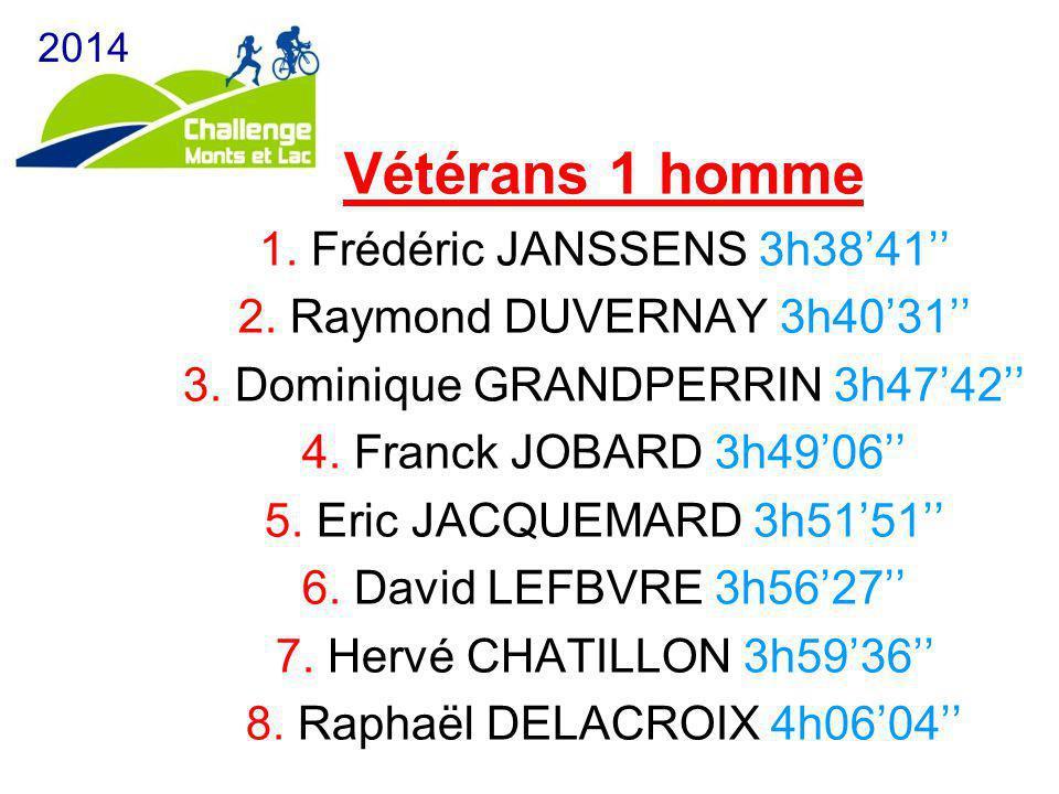 Vétérans 1 homme 1. Frédéric JANSSENS 3h38'41'' 2. Raymond DUVERNAY 3h40'31'' 3. Dominique GRANDPERRIN 3h47'42'' 4. Franck JOBARD 3h49'06'' 5. Eric JA