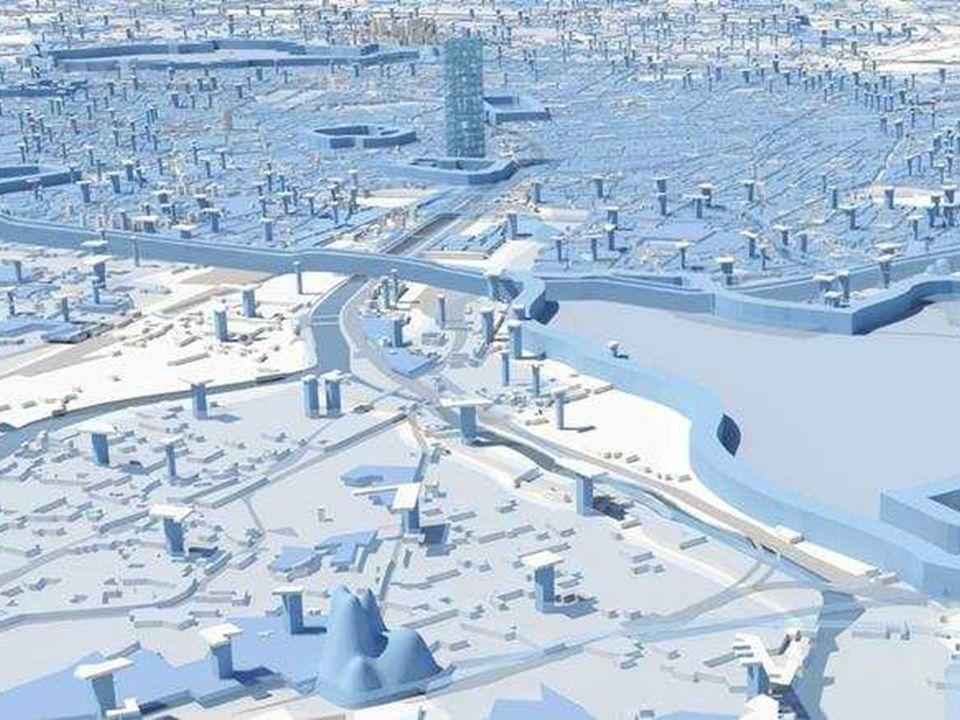 Grupo de maquetas de la construcción, ya iniciada del Nuevo París sobre ambas riveras del rio Sena hacia el Atlántico
