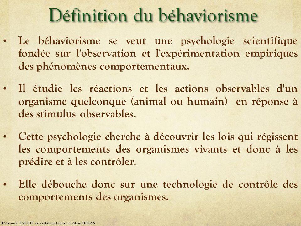 Les trois postulats de base du béhaviorisme 1.