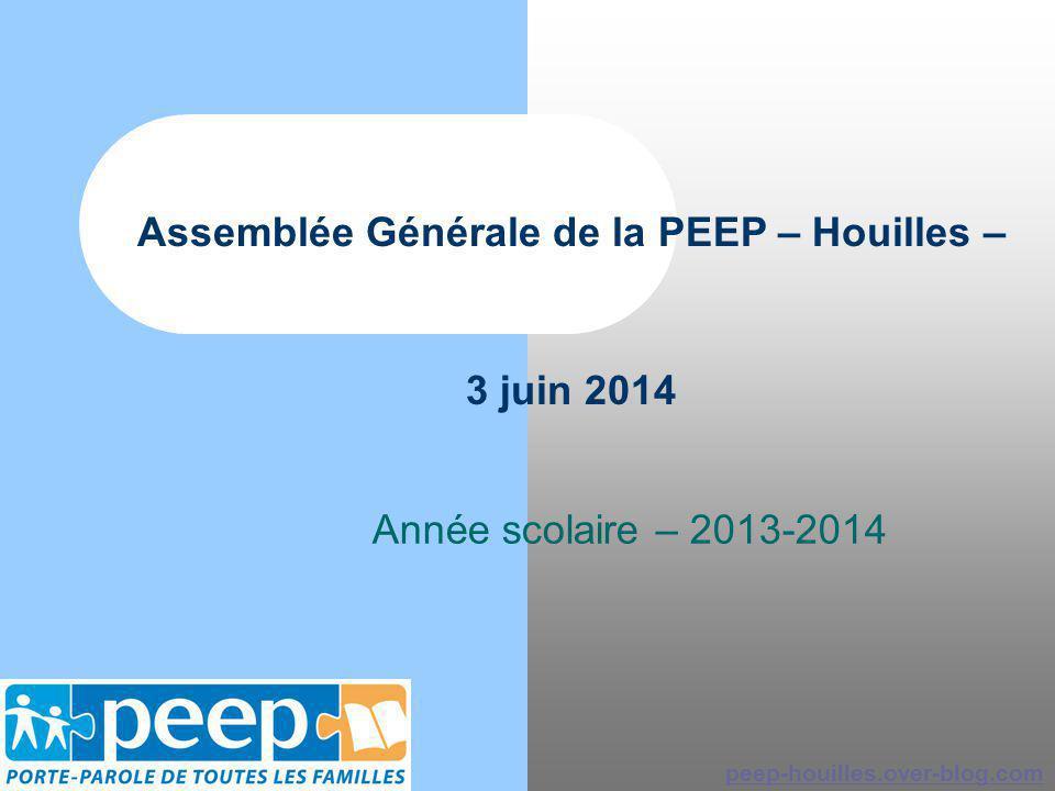 Assemblée Générale de la PEEP – Houilles – 3 juin 2014 Année scolaire – 2013-2014 peep-houilles.over-blog.com