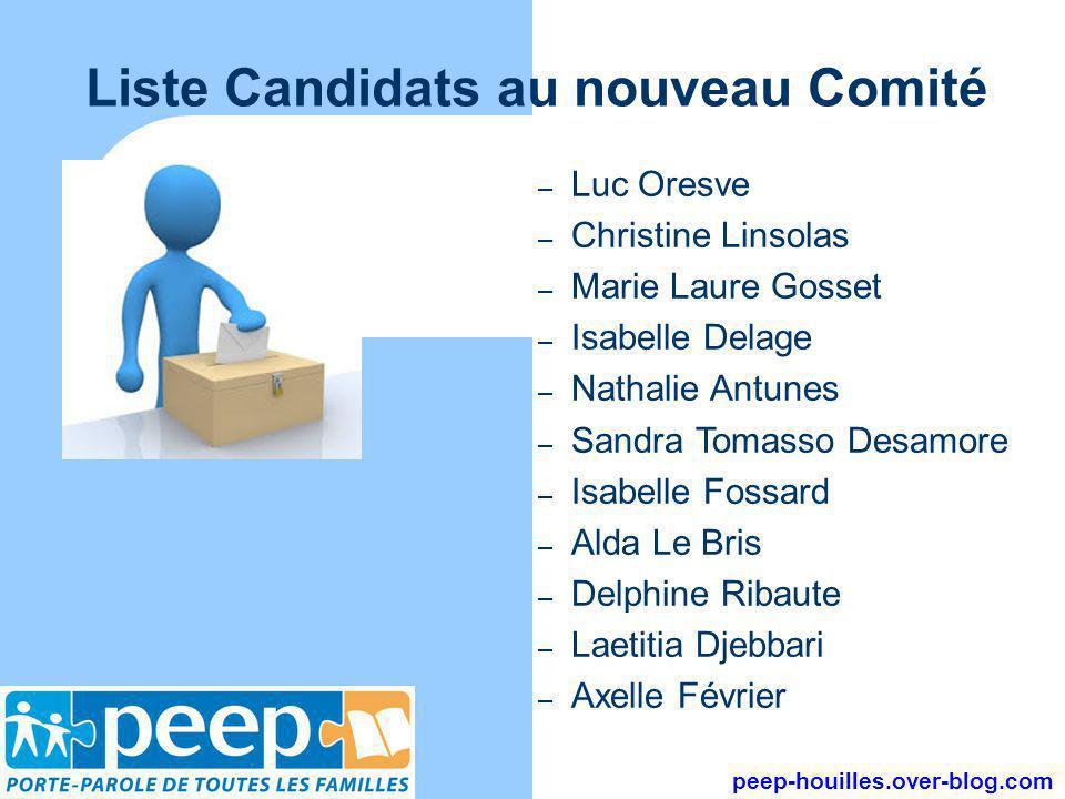 Liste Candidats au nouveau Comité peep-houilles.over-blog.com – Luc Oresve – Christine Linsolas – Marie Laure Gosset – Isabelle Delage – Nathalie Antu
