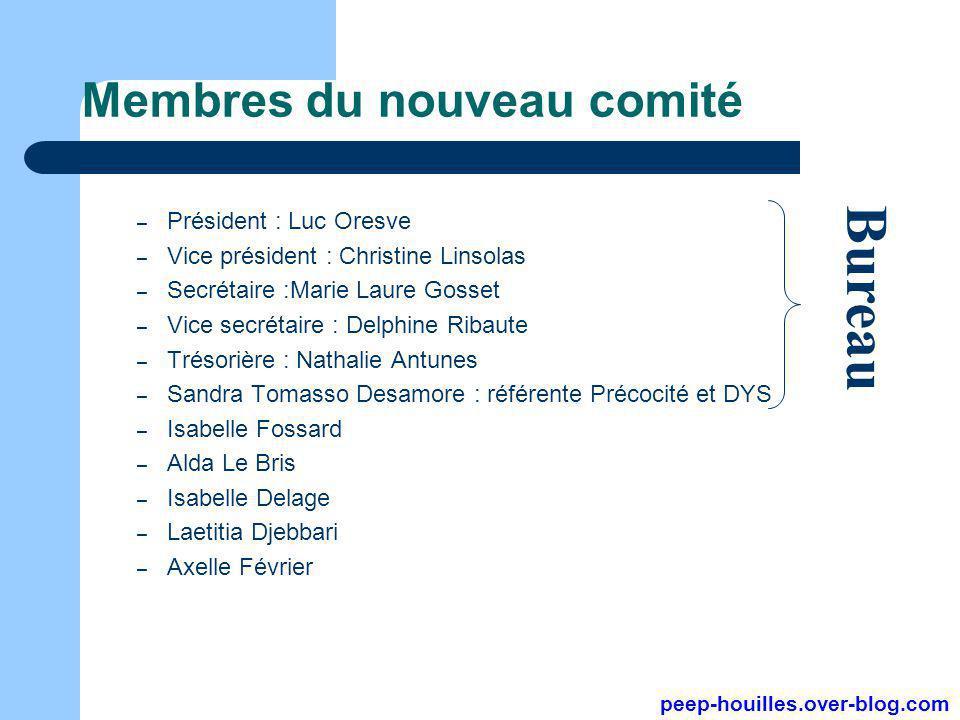 Membres du nouveau comité – Président : Luc Oresve – Vice président : Christine Linsolas – Secrétaire :Marie Laure Gosset – Vice secrétaire : Delphine