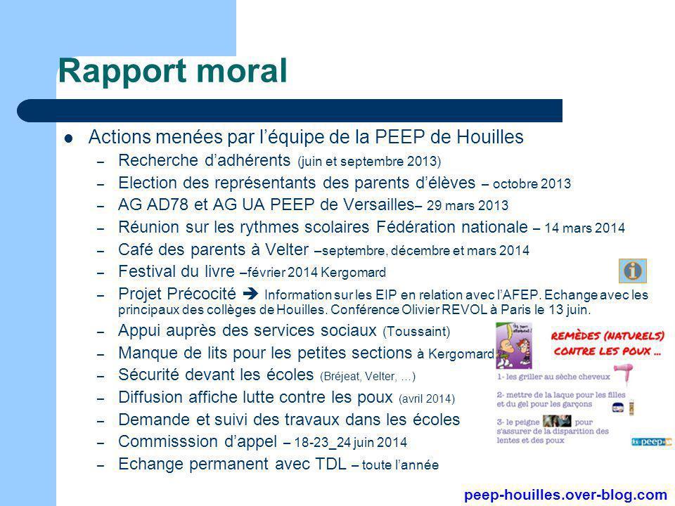 Rapport moral Actions menées par l'équipe de la PEEP de Houilles – Recherche d'adhérents (juin et septembre 2013) – Election des représentants des par