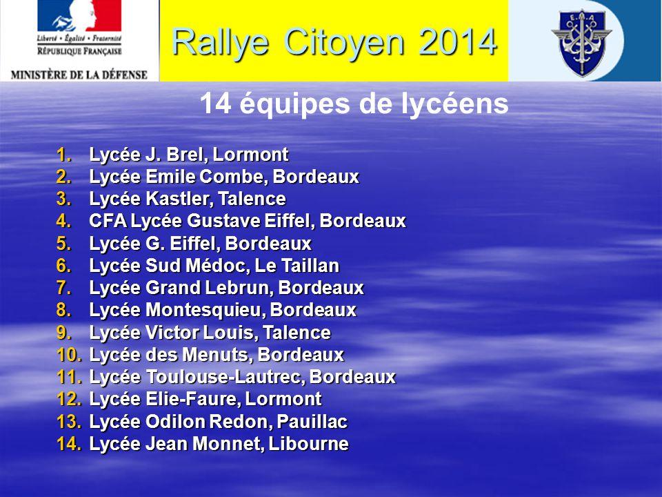 14 équipes de collégiens 1.Collège J. Verdier Audenge 2.Collège Montaigne Lormont 3.Collège J.