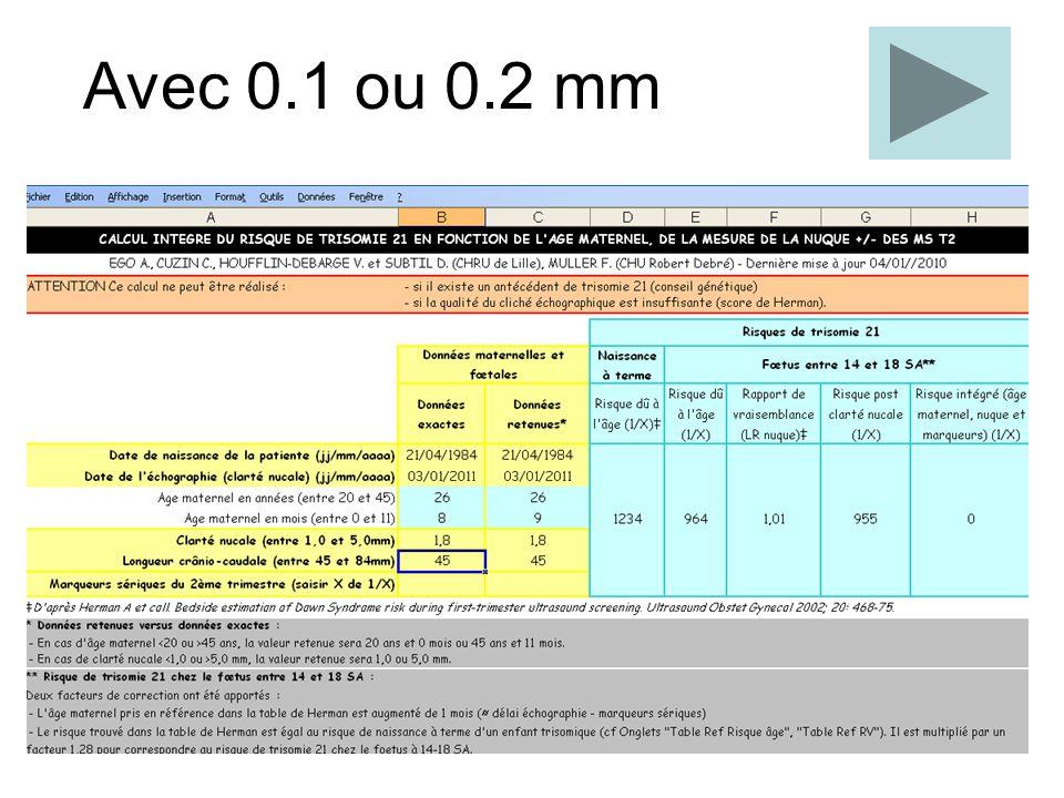 Sous estimation de 0.1 mm 12 SA, 65 mm 11 SA, 45 mm 13 +6 SA, 84 mm