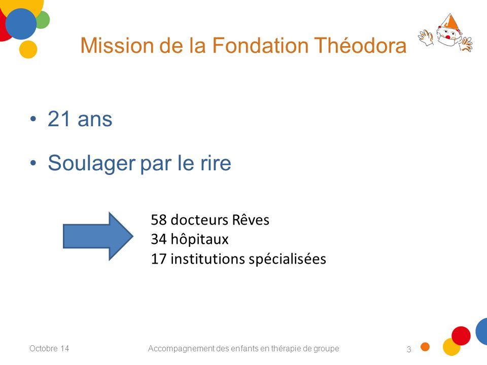 3 Mission de la Fondation Théodora Accompagnement des enfants en thérapie de groupe 21 ans Soulager par le rire 58 docteurs Rêves 34 hôpitaux 17 institutions spécialisées Octobre 14