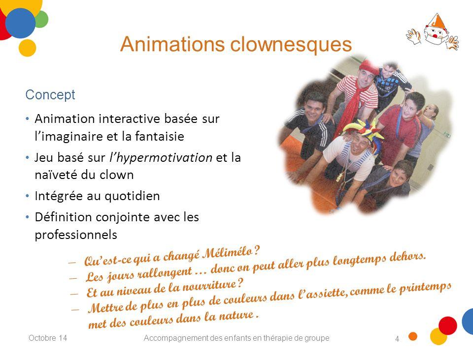 4 Animations clownesques Accompagnement des enfants en thérapie de groupe Animation interactive basée sur l'imaginaire et la fantaisie Jeu basé sur l'hypermotivation et la naïveté du clown Intégrée au quotidien Définition conjointe avec les professionnels Concept Octobre 14 − Qu'est-ce qui a changé Mélimélo .