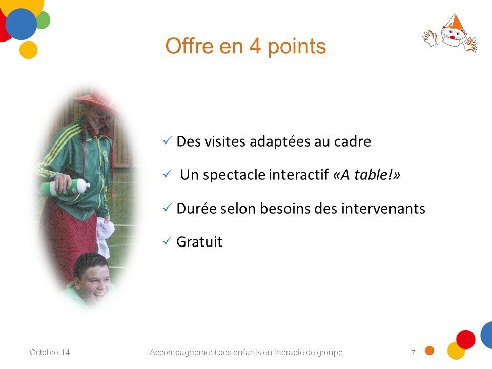 7 Offre en 4 points Accompagnement des enfants en thérapie de groupe Des visites adaptées au cadre Un spectacle interactif «A table!» Durée selon besoins des intervenants Gratuit Octobre 14