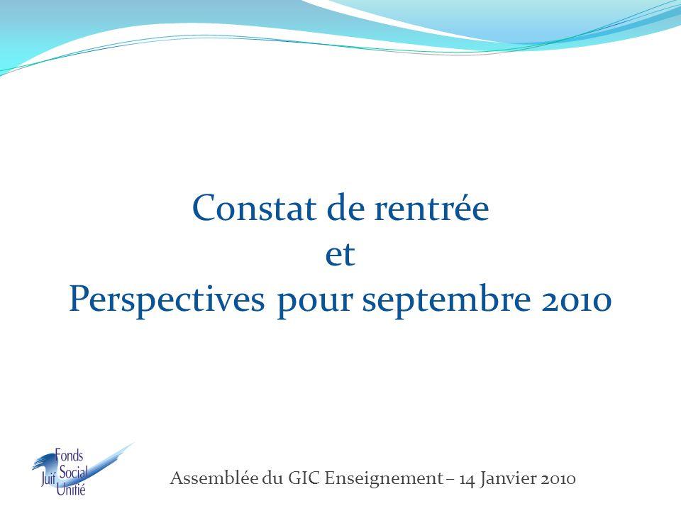 Constat de rentrée et Perspectives pour septembre 2010 Assemblée du GIC Enseignement – 14 Janvier 2010