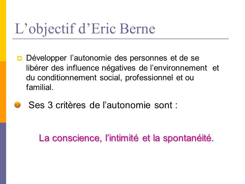 L'objectif d'Eric Berne  Développer l'autonomie des personnes et de se libérer des influence négatives de l'environnement et du conditionnement social, professionnel et ou familial.