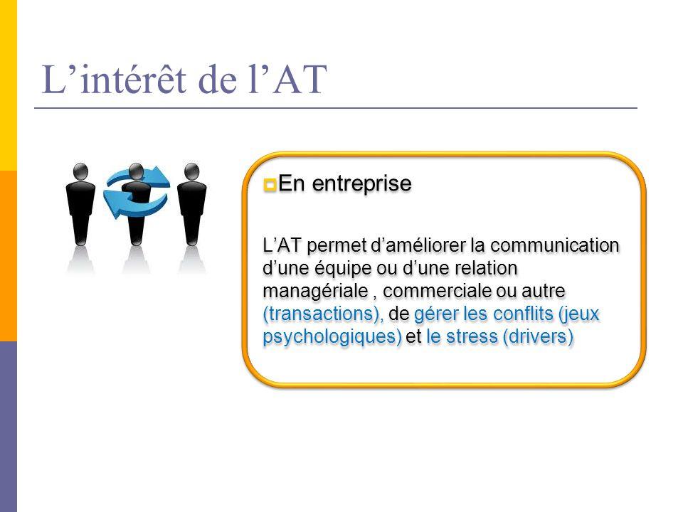  En entreprise L'AT permet d'améliorer la communication d'une équipe ou d'une relation managériale, commerciale ou autre (transactions), de gérer les conflits (jeux psychologiques) et le stress (drivers)  En entreprise L'AT permet d'améliorer la communication d'une équipe ou d'une relation managériale, commerciale ou autre (transactions), de gérer les conflits (jeux psychologiques) et le stress (drivers)