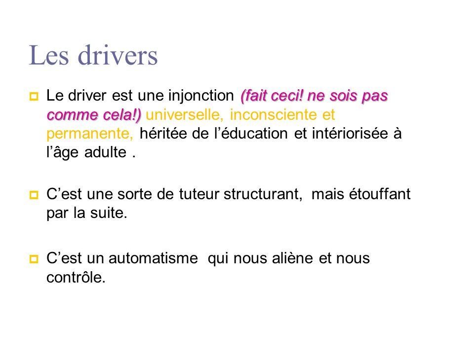 Les drivers (fait ceci! ne sois pas comme cela!)  Le driver est une injonction (fait ceci! ne sois pas comme cela!) universelle, inconsciente et perm