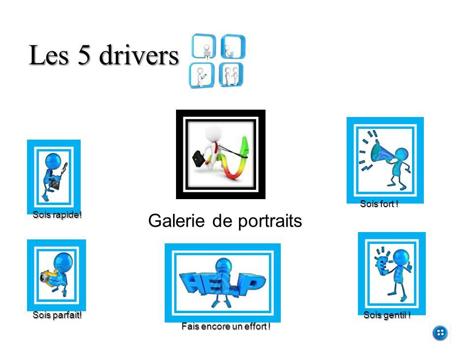 Les 5 drivers Galerie de portraits Sois rapide! Sois parfait! Fais encore un effort ! Sois fort ! Sois gentil !