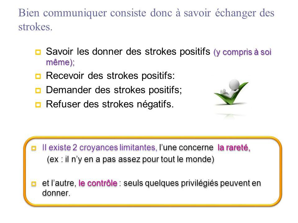 Bien communiquer consiste donc à savoir échanger des strokes. (y compris à soi même);  Savoir les donner des strokes positifs (y compris à soi même);