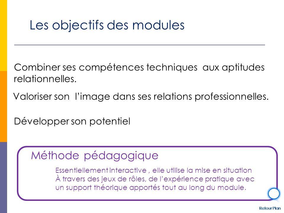 Les objectifs des modules Combiner ses compétences techniques aux aptitudes relationnelles. Valoriser son l'image dans ses relations professionnelles.
