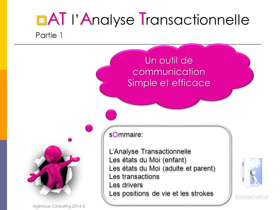  ATAT  AT l' A nalyse T ransactionnelle Partie 1 Un outil de communication Simple et efficace Un outil de communication Simple et efficace sOmmaire: