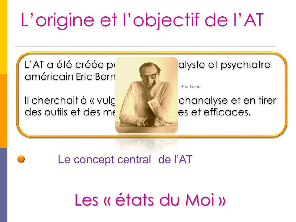 L'origine et l'objectif de l'AT L'AT a été créée par le psychanalyste et psychiatre américain Eric Berne. Il cherchait à « vulgariser » la psychanalys