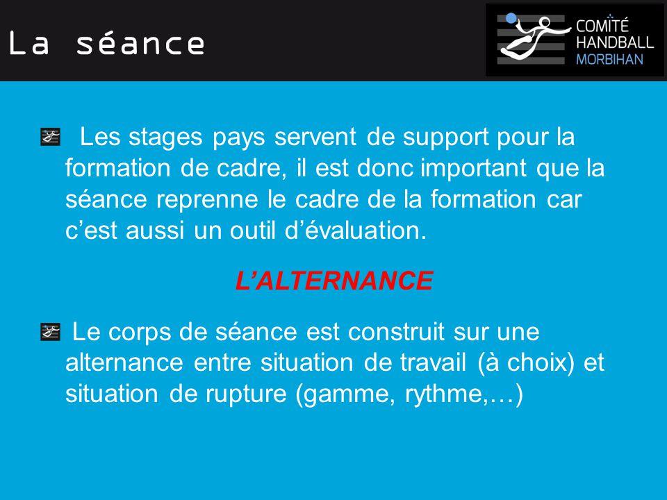 La séance Les stages pays servent de support pour la formation de cadre, il est donc important que la séance reprenne le cadre de la formation car c'est aussi un outil d'évaluation.