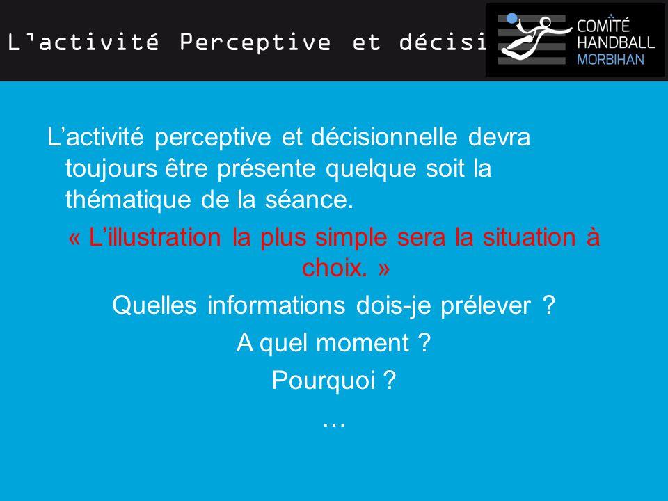 L'activité Perceptive et décisionnelle L'activité perceptive et décisionnelle devra toujours être présente quelque soit la thématique de la séance.