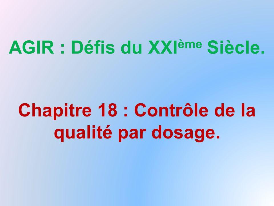 AGIR : Défis du XXI ème Siècle. Chapitre 18 : Contrôle de la qualité par dosage.