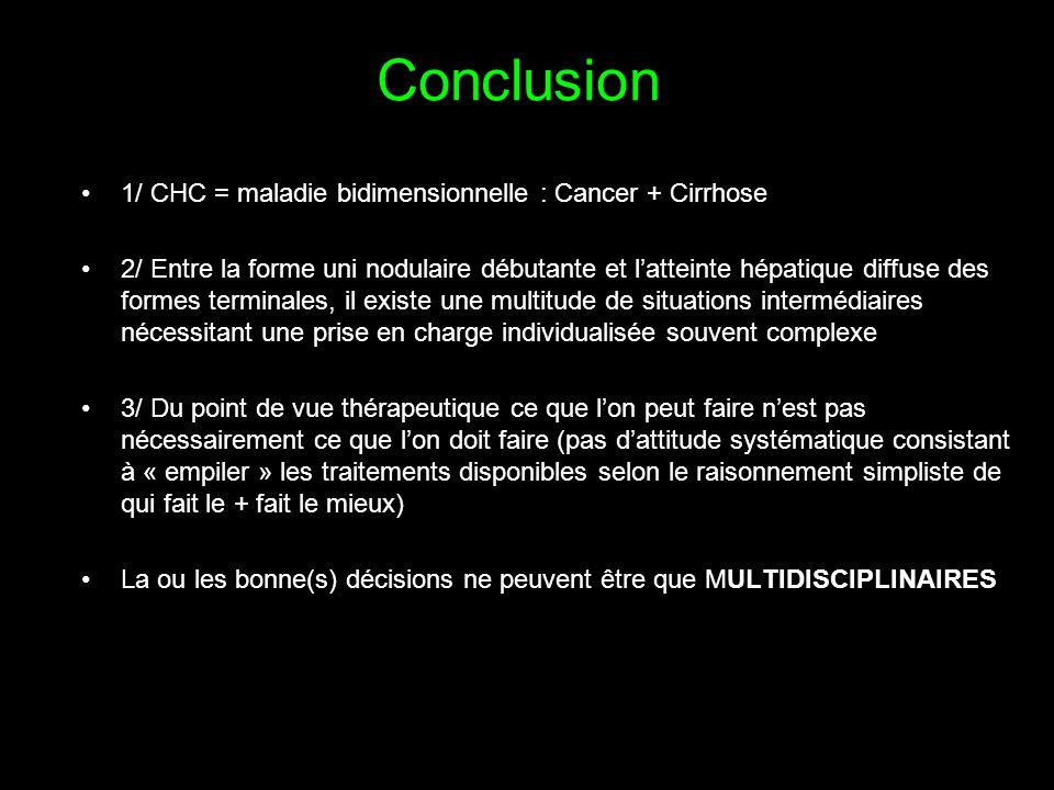 Conclusion 1/ CHC = maladie bidimensionnelle : Cancer + Cirrhose 2/ Entre la forme uni nodulaire débutante et l'atteinte hépatique diffuse des formes terminales, il existe une multitude de situations intermédiaires nécessitant une prise en charge individualisée souvent complexe 3/ Du point de vue thérapeutique ce que l'on peut faire n'est pas nécessairement ce que l'on doit faire (pas d'attitude systématique consistant à « empiler » les traitements disponibles selon le raisonnement simpliste de qui fait le + fait le mieux) La ou les bonne(s) décisions ne peuvent être que MULTIDISCIPLINAIRES