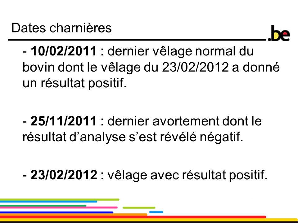11 Dates charnières - 10/02/2011 : dernier vêlage normal du bovin dont le vêlage du 23/02/2012 a donné un résultat positif. - 25/11/2011 : dernier avo