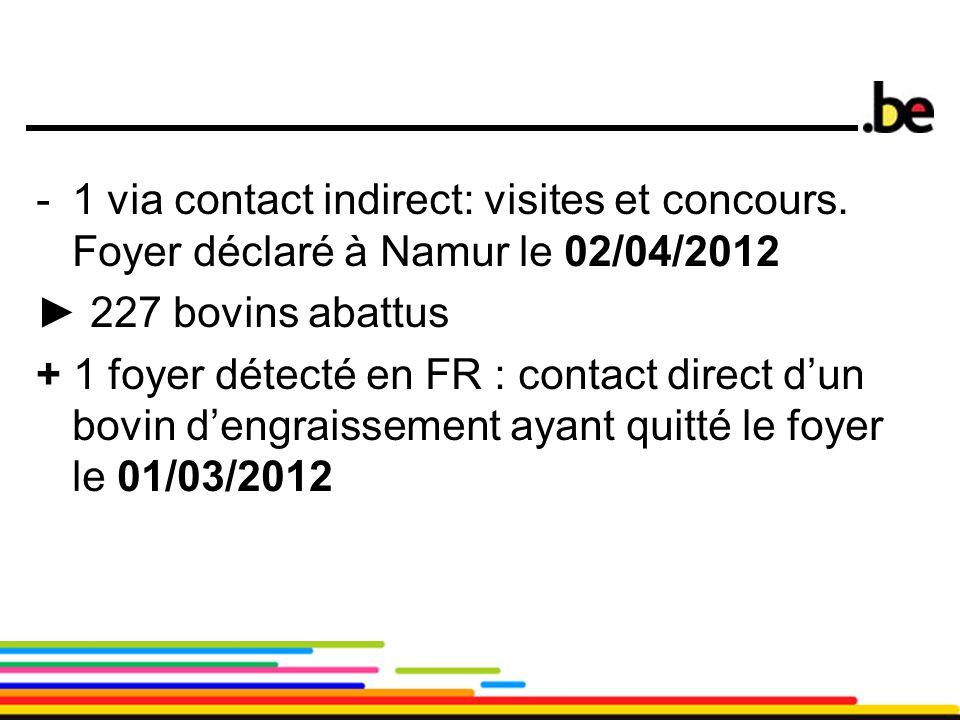 13 -1 via contact indirect: visites et concours. Foyer déclaré à Namur le 02/04/2012 ► 227 bovins abattus + 1 foyer détecté en FR : contact direct d'u