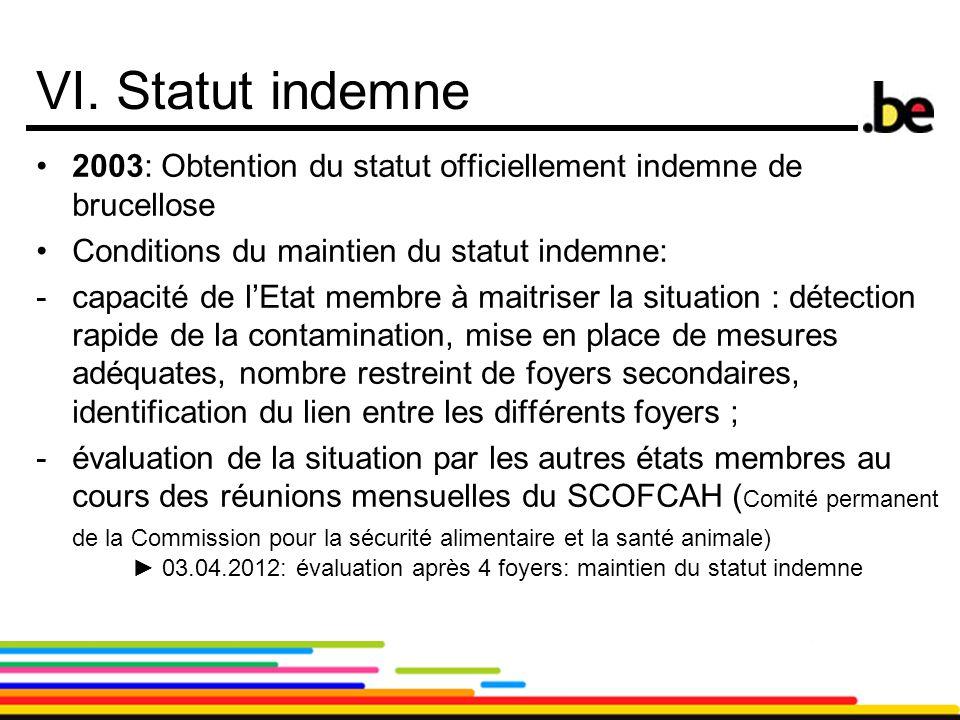 18 VI. Statut indemne 2003: Obtention du statut officiellement indemne de brucellose Conditions du maintien du statut indemne: -capacité de l'Etat mem
