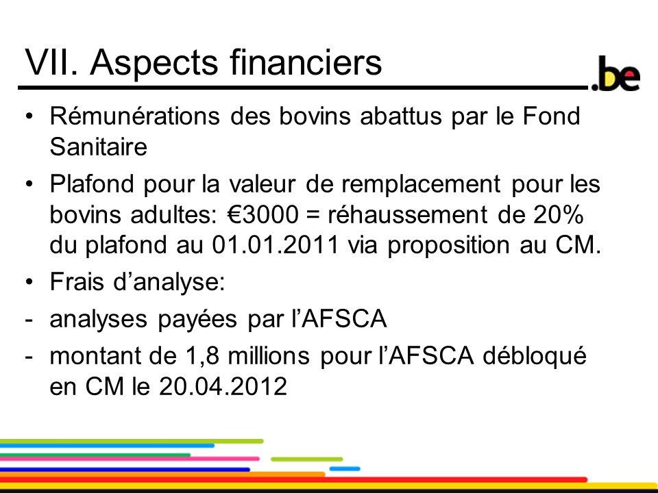 20 VII. Aspects financiers Rémunérations des bovins abattus par le Fond Sanitaire Plafond pour la valeur de remplacement pour les bovins adultes: €300