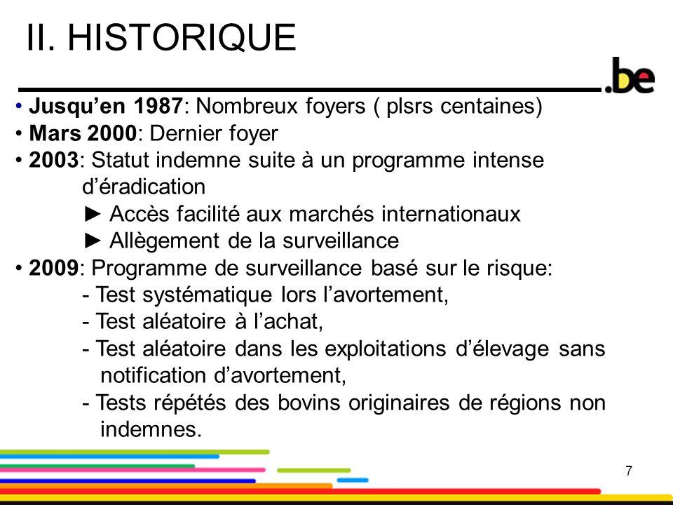 7 II. HISTORIQUE 7 Jusqu'en 1987: Nombreux foyers ( plsrs centaines) Mars 2000: Dernier foyer 2003: Statut indemne suite à un programme intense d'érad