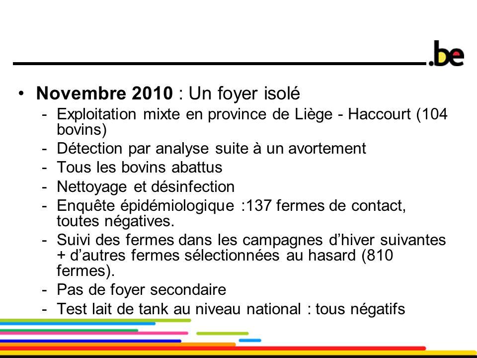 8 Novembre 2010 : Un foyer isolé -Exploitation mixte en province de Liège - Haccourt (104 bovins) -Détection par analyse suite à un avortement -Tous l