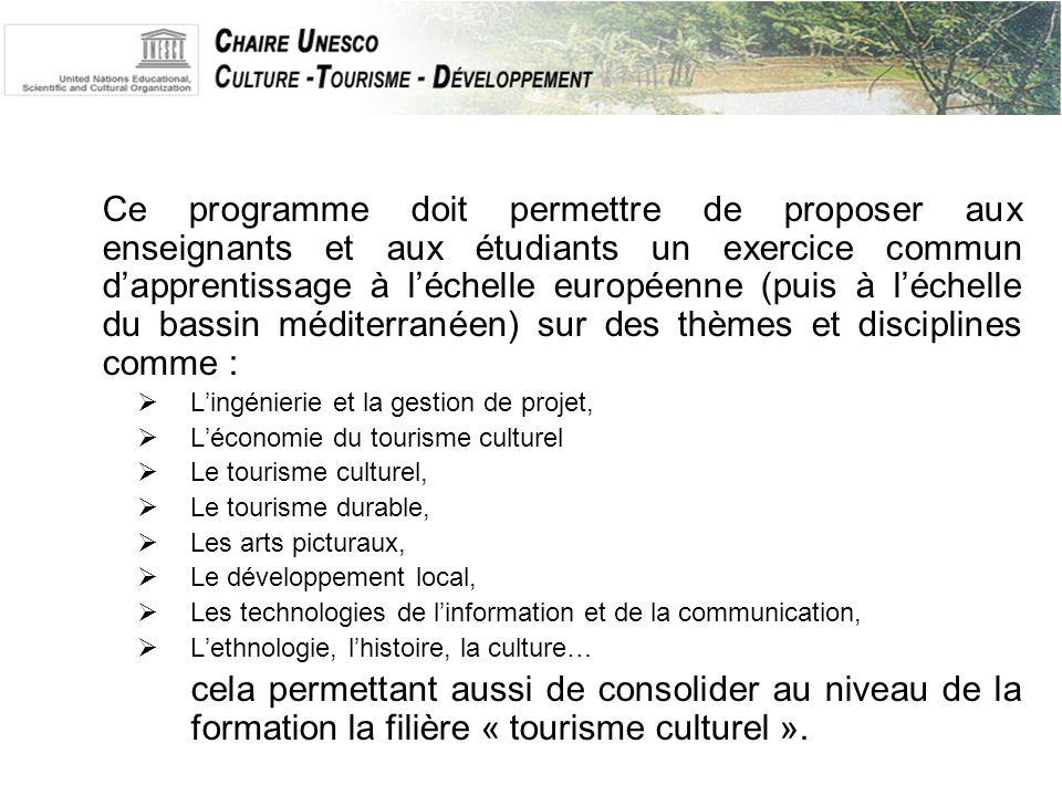 Ce programme doit permettre de proposer aux enseignants et aux étudiants un exercice commun d'apprentissage à l'échelle européenne (puis à l'échelle du bassin méditerranéen) sur des thèmes et disciplines comme :  L'ingénierie et la gestion de projet,  L'économie du tourisme culturel  Le tourisme culturel,  Le tourisme durable,  Les arts picturaux,  Le développement local,  Les technologies de l'information et de la communication,  L'ethnologie, l'histoire, la culture… cela permettant aussi de consolider au niveau de la formation la filière « tourisme culturel ».