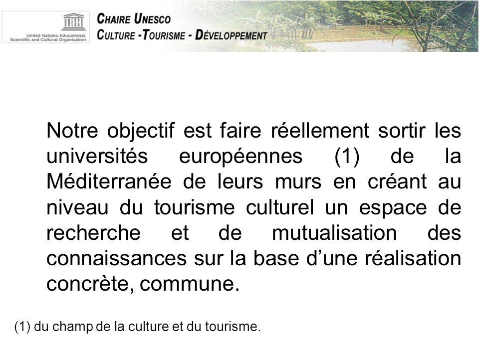 Notre objectif est faire réellement sortir les universités européennes (1) de la Méditerranée de leurs murs en créant au niveau du tourisme culturel un espace de recherche et de mutualisation des connaissances sur la base d'une réalisation concrète, commune.