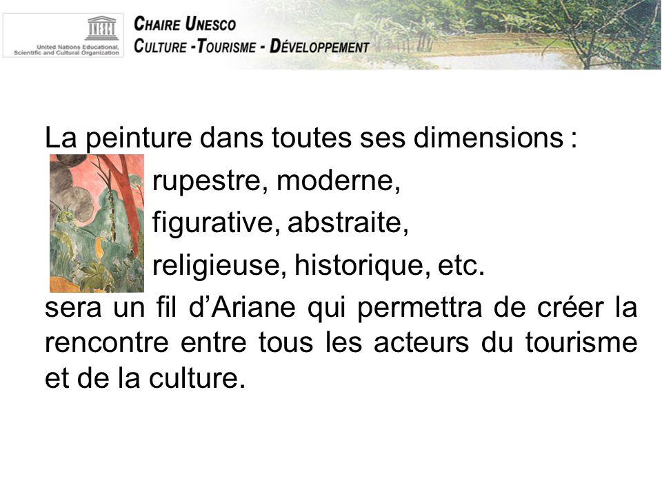 La peinture dans toutes ses dimensions : rupestre, moderne, figurative, abstraite, religieuse, historique, etc.