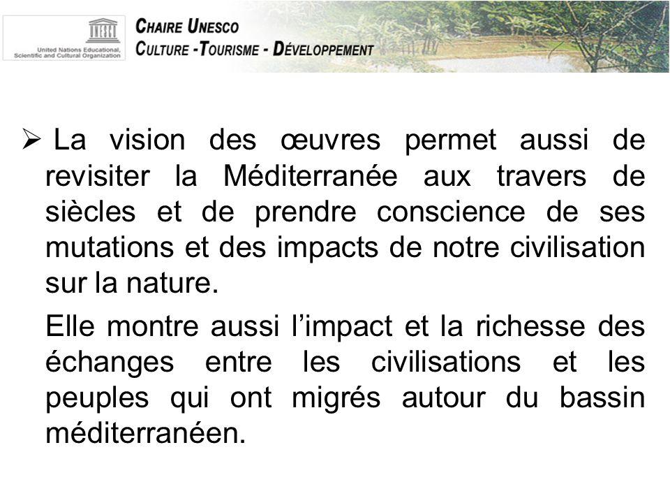  La vision des œuvres permet aussi de revisiter la Méditerranée aux travers de siècles et de prendre conscience de ses mutations et des impacts de notre civilisation sur la nature.