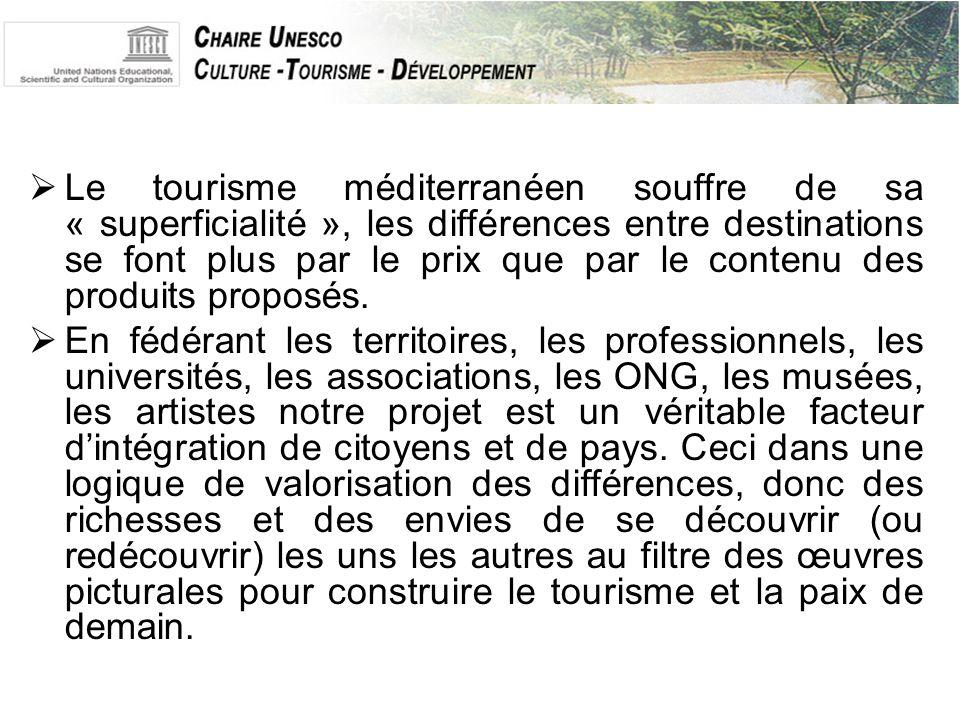  Le tourisme méditerranéen souffre de sa « superficialité », les différences entre destinations se font plus par le prix que par le contenu des produits proposés.